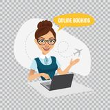 Online booking banner on transparent background.Air Tickets Online Booking. Woman sitting at table and selling tickets. Online booking banner on transparent Royalty Free Stock Photos