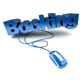 Online booking blue. Blue and white 3D illustration of the word booking connected to a computer mouse vector illustration