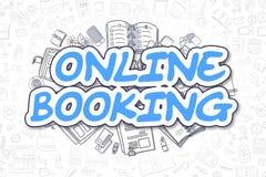 Online Booking - Cartoon Blue Text. Business Concept. Stock Photo
