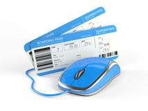Online booking concept. Airline boarding pass tickets and computer mouse - Online booking concept royalty free illustration