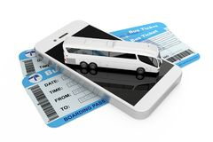 Online Booking Concept. Big White Coach Tour Bus over Mobile Pho Stock Image