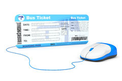 Online booking concept. Bus boarding pass ticket and computer mo Royalty Free Stock Photo