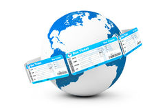Online booking concept. Bus tickets around Earth Globe Royalty Free Stock Photography