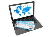 Online booking concept. Laptop with air tickets Royalty Free Stock Images