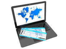 Online booking concept. Laptop with Bus tickets Stock Photo
