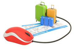 Online booking concept with suitcases and tickets, 3D rendering. Online booking concept with suitcases and tickets, 3D Royalty Free Stock Images