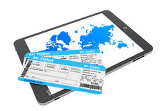 Online booking concept. Tablet PC with air tickets Stock Image