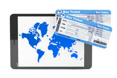 Online booking concept. Tablet PC with Bus tickets Royalty Free Stock Images