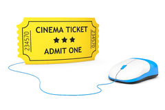 Online booking concept. Yellow Cinema Ticket and computer mouse Stock Image
