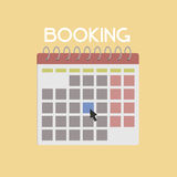 Online Booking Flat Illustration. Illustration of a online booking calendar, with the day of the reservation marked. Flat illustration on white background. Ideal Royalty Free Stock Photos