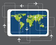 Online booking flight ticket map with tablet pc. Online booking flight ticket with tablet pc, vector concept Royalty Free Stock Images