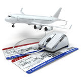 Online booking flight or travel concept. Computer mouse, airline. Tockets and airplane. 3d Stock Images