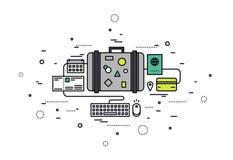 Online booking line style illustration vector illustration