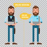 Online Booking. Man making online order. Two flat characters on transparent background. Online Booking. Man with tablet making online order, booking Stock Photo
