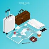 Isometric online booking ,passport world map,trip plan travel vector royalty free stock photos