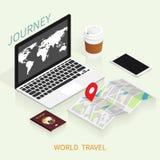 Isometric online booking ,passport world map,trip plan travel vector royalty free stock image
