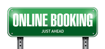 Online booking road sign illustration Royalty Free Stock Photo