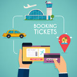 Online booking ticked. Buy Ticket Online. Traveling on airplane,. Planning a summer vacation, tourism and journey objects and passenger luggage Stock Photo