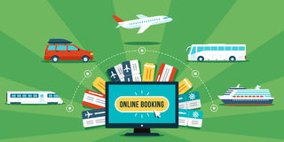Online booking. Tickets online booking concept. Various transportation and tickets around computer. Flat style. Eps 10 royalty free illustration