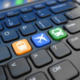 Online booking  tickets to train, bus or airplane. Laptop keyboa Stock Photo