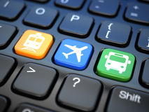 Online booking  tickets to train, bus or airplane. Laptop keyboa Royalty Free Stock Photo