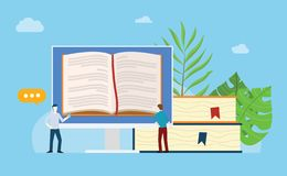 Online books reading with open book on the monitor screen with stack and people team read together with blue background - vector stock illustration