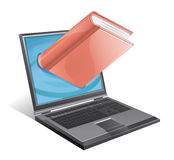 Online Bookstore. A laptop with a book emerging from the screen Stock Images