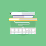 Online bookstore flat icon illustration Stock Photography