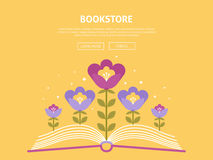 Online bookstore shopping. Vector background on the theme of online bookstore shopping and vector web illustration website Royalty Free Stock Photos