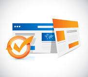 online browsers check mark cycle stock photo