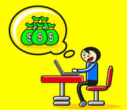 Online business. Illustration of cartoon character businessman making money online Stock Photos