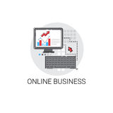 Online Business Analysis Computer Finance Diagram Digital Marketing Icon. Vector Illustration Royalty Free Stock Image