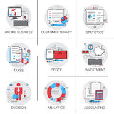 Online Business Analysis Statistics Finance Diagram Office Work Icon Set. Online Business Analysis Statistics Finance Diagram Office Work Icon Sit Vector Royalty Free Stock Photos