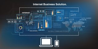 Online business background. With laptop and smartphone, cloud computing technology abstract concept