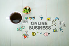 Online Business concept with a cup of coffee Stock Photos