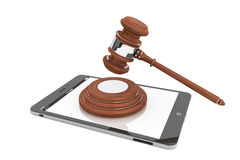 Online Business Concept. Tablet PC with a gavel Stock Photos