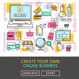 Online Business. E-Commerce and Online Shopping. Internet and mobile marketing concept. For web and mobile phone services and apps. Vector Line Illustration Stock Image