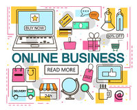 Online Business. E-Commerce and Online Shopping. Internet and mobile marketing concept. For web and mobile phone services and apps. Vector Line Illustration Stock Photo