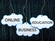 Online business education on cloud banner Royalty Free Stock Images