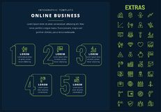 Online business infographic template and elements. Online business options infographic template, elements and icons. Infograph includes line icon set with money Stock Photos