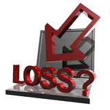 Online business loss and failure icon Royalty Free Stock Images