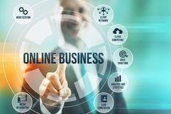 Online business. Business man selecting online business concepts Royalty Free Stock Photography