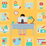 Online business man working at home Stock Image