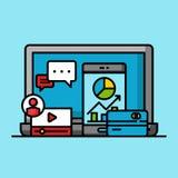 Online business marketing successful concept, internet commercial growth profit. Flat outline design vector illustration