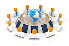 Online business meeting. Global business meeting over the Internet, 3d render Royalty Free Stock Image