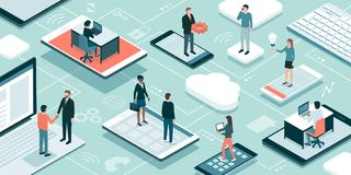 Online business and professionals network. Business people and freelancers working online, they are connecting through their devices, meeting and sharing their Stock Images