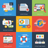 Online business promotion analytics flat style modern icon set Stock Images
