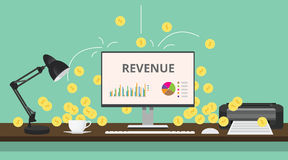Online business review with gold coin computer illustration on desk Royalty Free Stock Images