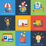 Online business startup flat style modern icon set Royalty Free Stock Photos
