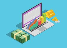 Online business technology with laptop and graph and cash money. Vector graphic illustration Royalty Free Stock Image